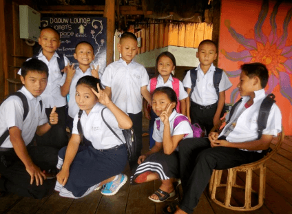 children of daauw wearing uniform